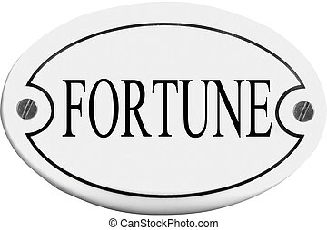 Old-fashioned door name plate  with text fortune