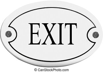 Old-fashioned door name plate  with text  exit