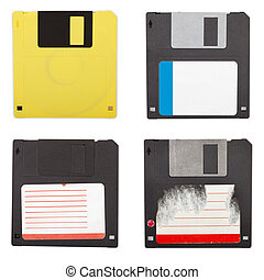 Floppy discs isolated set - Set of different floppy discs,...