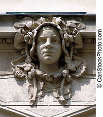 Art Nouveau sculpture on the wall in Prague, Czech Republic...