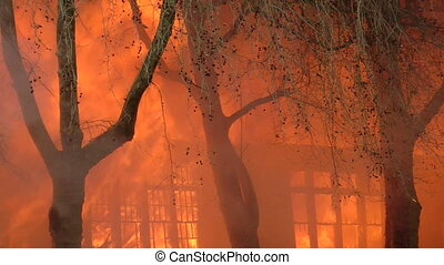 Fire consumes a building during a controlled burn of an...