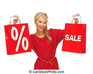 bonito, mulher, vermelho, Vestido, shopping, saco