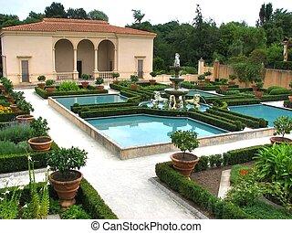 Garden design. Hamilton gardens, New Zealand