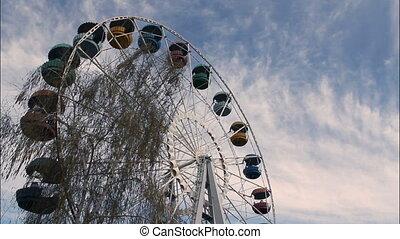 Ferris wheel timelapse - Ferris wheel against the sky