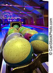 Bowling venue - Close-up on some bowling balls in a venue