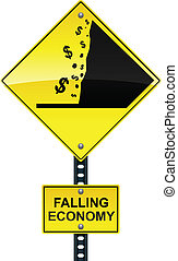 Falling economy road sign - Road sign warning of the...