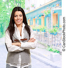 Portrait Of A Young Happy Woman, Outdoor