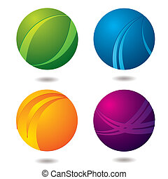Citrus Buttons - Set of four abstract buttons with drop...