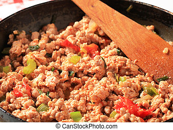 Ground meat stir fry