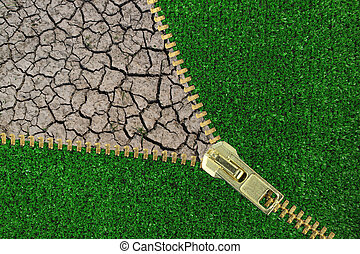 Global Warming Zipper with cracked earth and grass