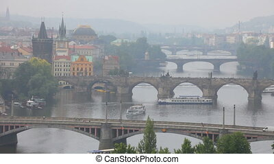 Prague, view of the Vltava River and bridges in a morning...
