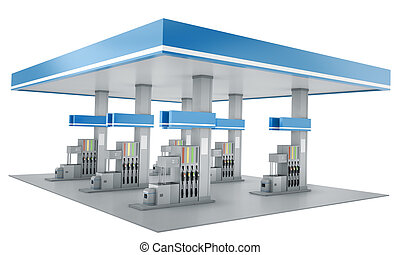 Gas station isolated on white background 3D render