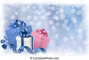 Christmas background with gift boxes and blue ribbons Vector...