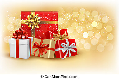 Christmas gold background with gift box and snowflake Vector...