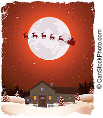 Christmas Red Landscape And Flying Santa - Illustration of a...