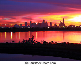 Melbourne Sunrise - Melbourne City Sunrise from across the...