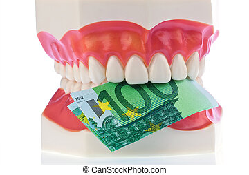 dental model with euro notes - a dental model to the dentist...