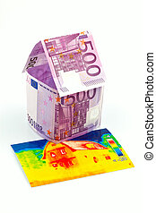house made of euro banknotes and infrared image - a house...