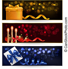 Set of winter christmas banners with gift boxes and...