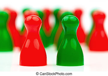 red-green coalition government - red and green pawns....