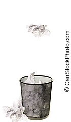 Garbage Can - Paper being tossed into a garbage can,...