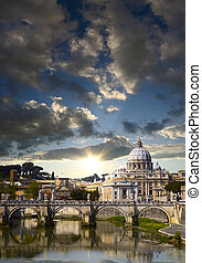 Vatican in the morning - View of the Vatican with Saint...