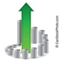 circular business graph and arrow