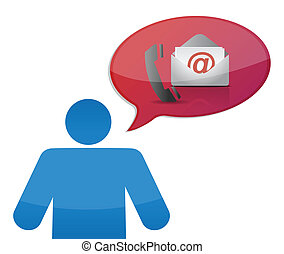 contact us and icon illustration design over white