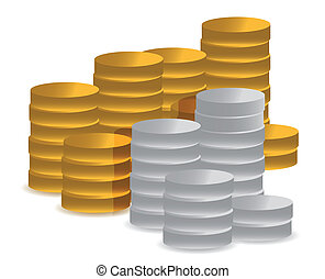 gold and silver coins illustration design over white