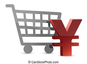 yen and shopping card illustration design over white