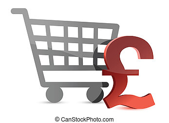 Pound and shopping card illustration design over white