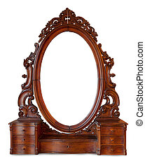 Vintage wood frame mirror on white background