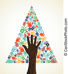 Diversity Christmas pine Tree hands