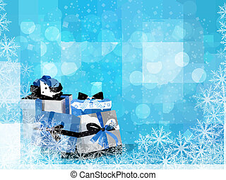 Christmas blue background with gift box and snowflake.