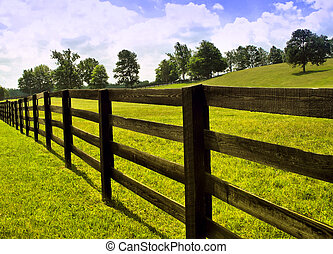 country side fence - view of country side with wooden fence