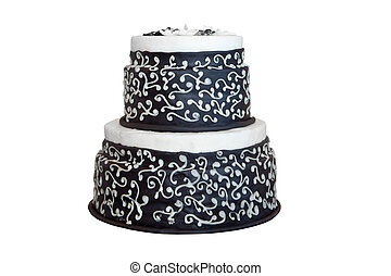 Elegant black and white wedding cake, isolated on white