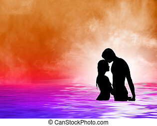 Loving couple at sea sundown - Loving couple on a tropical...