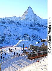Matterhorn at Gornergrat - The train station in Gornergrat,...