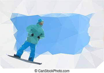 snowboard abstract poster, vector