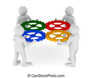 four man with color gear on white background. Isolated 3D...