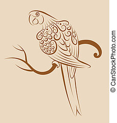 Bird ornament 4 (parrot) - Parrot with floral ornament...