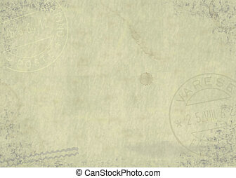 Aged paper background with postmarks and stains.