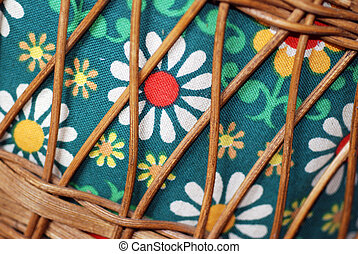 Vintage Sewing Box - A close-up of a 1970s flower power...