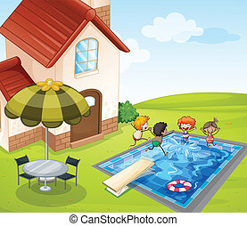 a house and kids - illustration of a house and kids in a...