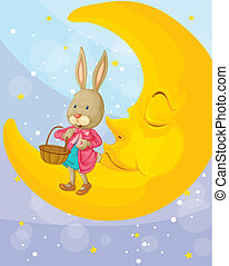 a rabbit and a moon