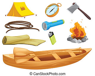 various objects of a camp - illustration of various objects...