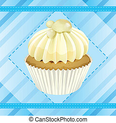 cupcake and a wallpaper - Illustration of an isolated...