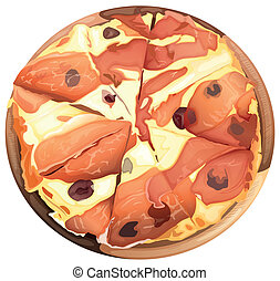 Pizza with ham - illustration of food and a dish on a white...