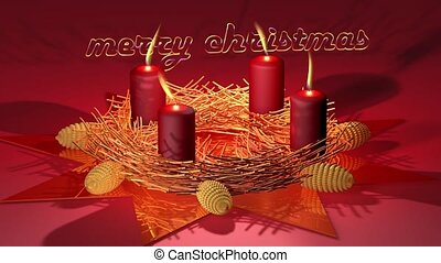 Marry Christmas - Animation on Christmas - candles with...