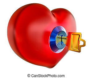 red heart with golden key inside as symbol opening heart for...